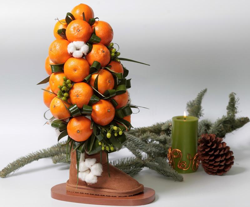 Дерево из мандаринов на новый год своими