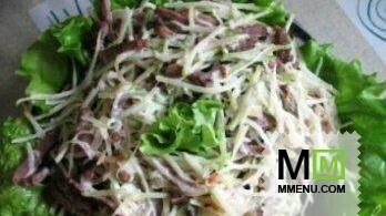 Салат из грибов и мяса с фото картинки