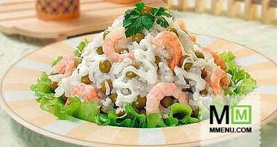 Салат из креветок и риса рецепт