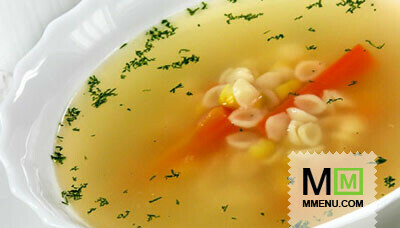 Куриный суп с макаронами ракушками