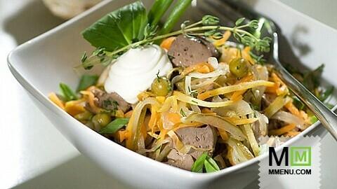 Салат с печенкой и овощами